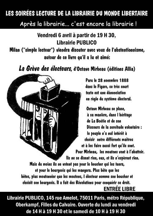 La grève des électeurs, à partir de 19 heures 30 à la librairie du Monde libertaire