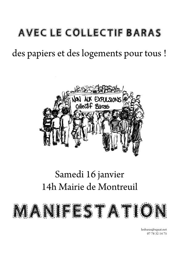 Avec le collectif Baras, des papiers et des logements pour tous!. Non aux expulsions. Samedi 16 janvier 14heures mairie de Montreuil. Manifestation