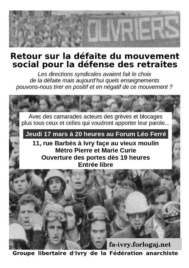 Retour sur la défaite du mouvement social pour la défense des retraites - 17 mars 2010