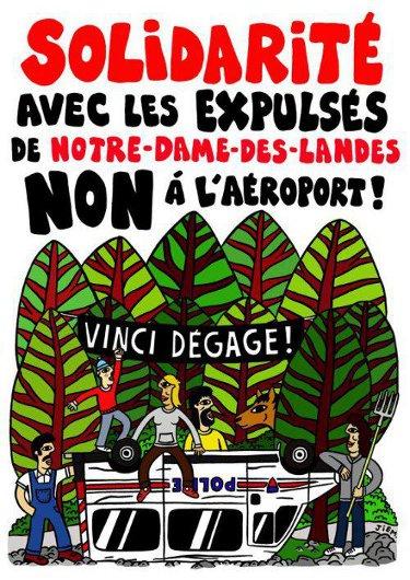 Solidarité avec les expulsés de Notre-Dame des Landes. Non à l'aéroport, Vinci dégage